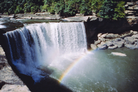 Cumberland Falls on the Cumberland River, it drops 60 feet over the sandstone edge, Kentucky, United States of America