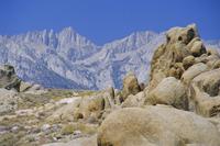 Distant granite peaks of Mount Whitney (4416m), Sierra Nevada, California, United States of America, North America