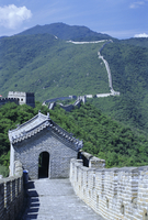 Restored section with watchtowers of the Great Wall (Changcheng), northeast of Beijing, Mutianyu, China, Asia