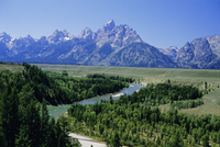 The Snake River cutting through terrace 2000m below summits, Grand Teton National Park, Wyoming, United States of America, North