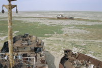 Ship's graveyard near Aralsk, on seabed due to water losses, Aral Sea, Kazakhstan, Central Asia