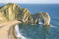 Wave-cut arch in limestone headland, Durdle Door, Jurassic Heritage Coast, UNESCO World Heritage Site, Isle of Purbeck, Dorset,