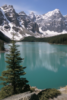 Moraine Lake with mountains that overlook Valley of the Ten Peaks, Banff National Park, Canada, North America