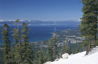 Lake Tahoe and town on California and Nevada state line, United States of America (U.S.A.), North America
