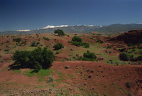 Looking over to High Atlas Mountains from road to Marrakesh, Morocco, North Africa, Africa