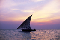 Dhow in silhouette on the Indian Ocean at sunset, off Stone Town, Zanzibar, Tanzania, East Africa, Africa 20025348289| 写真素材・ストックフォト・画像・イラスト素材|アマナイメージズ