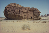 Rock tombs in sandstone inselberg, Mada'in Salih, Saudi Arabia, Middle East