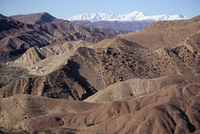 Mountains and village near Telouet, High Atlas mountains, Morocco, North Africa, Africa