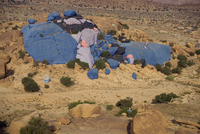 Painted rocks by the artist, Christo, Tafraoute region, Morocco, North Africa, Africa