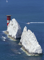 Aerial view of the Needles rocks and lighthouse, Isle of Wight, England, United Kingdom, Europe