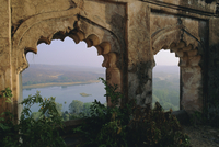 Padam Talao Lake from the palace, Ranthambore National Park, southwest Rajasthan State, India, Asia