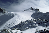 Point Lenana, 4985m, and Lewis Glacier, from top hut, Mount Kenya, UNESCO World Heritage Site, Kenya, East Africa, Africa