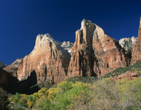 Trees in golden fall colours below Abraham and Isaac peaks in the Court of the Patriarchs, Zion National Park, Utah, United Stat