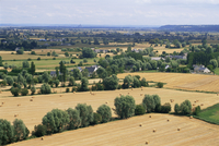 View across fields to Mont St. Michel, Mont-Dol, Ille-et-Vilaine, Brittany, France, Europe