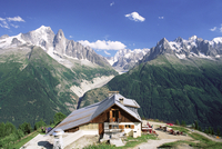 View across valley to the Mer de Glace and mountains, La Flegere, Chamonix, Haute Savoie, Rhone Alpes, French Alps, France, Euro