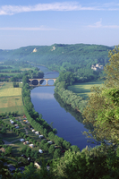 View from the castle to the Dordogne River, Beynac, Dordogne, Aquitaine, France, Europe