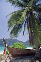 Wooden boat beneath palm trees on beach, Hin Phae Bay, Ko Phi Phi Don, off the island of Phuket, Thailand, Southeast Asia, Asia