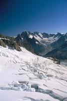 View across the Vallee Blanche, Aiguille du Midi, Chamonix, Haute-Savoie, Rhone-Alpes, France, Europe