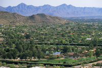 View over Paradise Valley from the slopes of Camelback Mountain, Phoenix, Arizona, United States of America (U.S.A.), North Amer