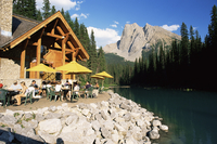 Restaurant overlooking Emerald Lake, with Mount Burgess beyond, in evening light, Yoho National Park, UNESCO World Heritage Site