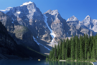 View to the Wenkchemna Peaks from the shore of Moraine Lake, Banff National Park, UNESCO World Heritage Site, Alberta, Canada, N