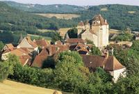 Castle and village, Curemonte, Correze, Limousin, France, Europe