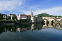 View across the Aveyron River, St. Antonin-Noble-Val, Tarn-et-Garonne, Midi-Pyrenees, France, Europe
