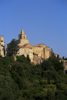 View to village houses and church in the early morning, Venasque, Vaucluse, Provence, France, Europe