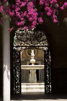 View through wrought iron gateway to the Patio Principal, and bougainvillea, Casa de Pilatos, Seville, Andalucia (Andalusia), Sp