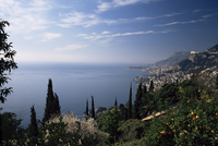 Roquebrune, view along coast towards Monaco, Alpes-Maritimes, Cote d'Azur, Provence, France, Mediterranean, Europe