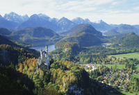 Neuschwanstein and Hohenschwangau castles, Alpsee and Tannheimer Alps, Allgau, Bavaria, Germany, Europe