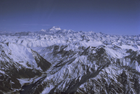 Aerial view of Himalaya mountain range, with Nanga Parbat, 8125m, seen from south west, rising above other mountains, Pakistan,