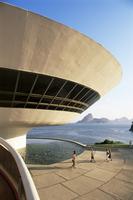 View across Guanabara Bay to Rio, Museo de Arte Contemporanea (Museum of Contemporary Art), by Oscar Niemeyer, Niteroi, Rio de J