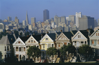 The Painted Ladies, grand 19th century houses, Alamo Square, San Francisco, California, United States of America