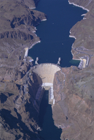 Aerial view of the Hoover Dam and Lake Mead, Nevada, United States of America, North America