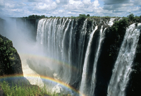 Waterfalls and rainbows, Victoria Falls, UNESCO World Heritage Site, Zambia, Africa