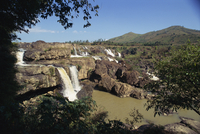 Landscape view of the Lien Khuong waterfall and rocks at Dalat, Vietnam, Indochina, Southeast Asia, Asia