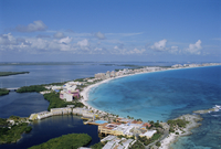 Aerial view of hotel area of resort, Cancun, Yucatan, Mexico, Central America