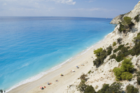 Egremnoi Beach, 400 steps down to beach, said to be one of the top beaches in Europe, on west coast of Lefkada (Lefkas), Ionian