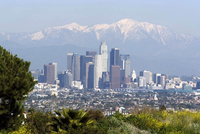 View of downtown Los Angeles looking towards San Bernardino Mountains, California, United States of America, North America