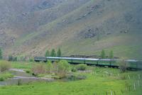 Trans-Mongolian train, Central Gobi, Mongolia, Asia