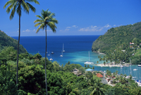 Elevated view over Marigot Bay, island of St. Lucia, Windward Islands, West Indies, Caribbean, Central America