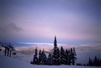 Chair lift in the early morning, Whistler, British Columbia, Canada, North America