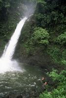 Tourists swimming in falls, La Paz waterfall, near Magia Blanca Nature Reserve, Costa Rica, Central America