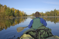 Canoeing on Hoe Lake, Boundary Waters Canoe Area Wilderness, Superior National Forest, Minnesota, United States of America, Nort
