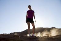 Woman jogging, Monument Valley Navajo Tribal Park, Arizona Utah border, United States of America, North America