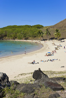 Anakena beach, the Island's white sand beach fringed by palm trees, Rapa Nui (Easter Island), Chile, South America 20025351903| 写真素材・ストックフォト・画像・イラスト素材|アマナイメージズ