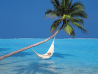 Woman in hammock, South Male Atoll, Maldives, Indian Ocean, Asia