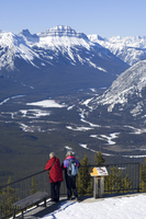Two women and the Bow Valley from the top of Sulphur Mountain, Banff National Park, UNESCO World Heritage Site, Alberta, Canada,