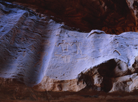 Rock drawings of Thamudic origin, relating to ancient tribe of Thamud, 3rd century BC to 2nd century AD, in canyon of Jebel Khaz 20025352902| 写真素材・ストックフォト・画像・イラスト素材|アマナイメージズ